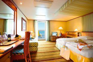 Ein Blick in die geräumige Junior-Suite der AIDacara. Foto: AIDA Cruises