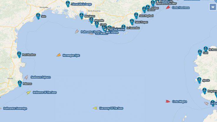Im Mittelmeer wimmelt es nur so von Kreuzfahrtschiffen. Dann Vesseltracking findet ihr sie. Grafik: cruisemapper.com
