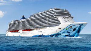 Wale zieren den Bug der Norwegian Bliss. Brennstart für die Norwegian Bliss auf der Meyer Werft. Foto: Norwegian Cruise Line