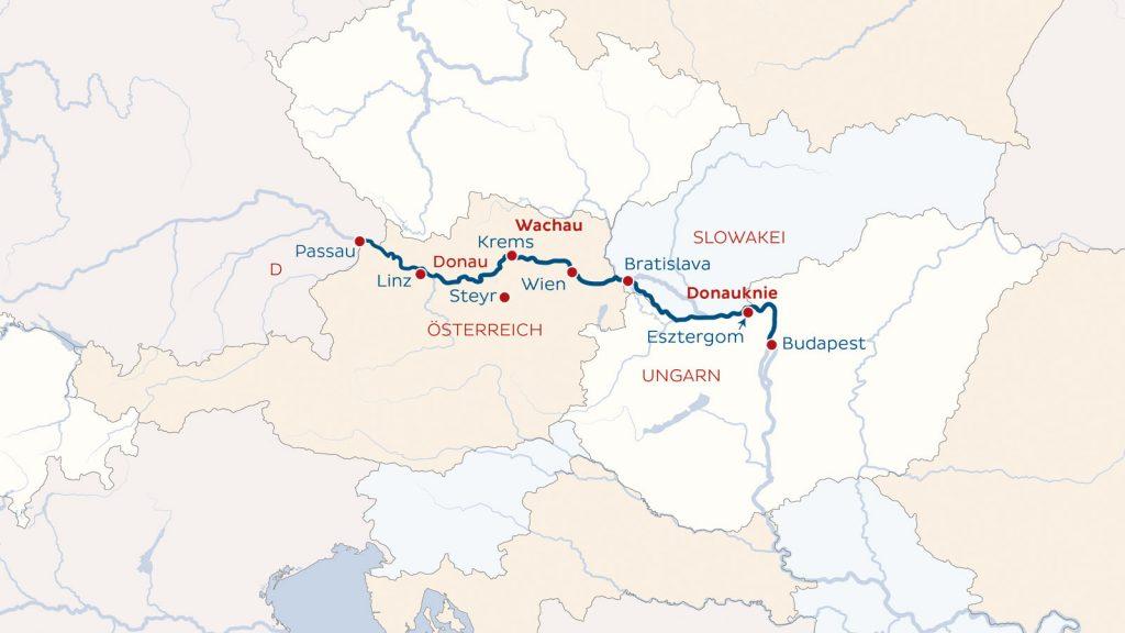 Unsere Route führt von Passau nach Budapest und zurück. Grafik: nicko cruises
