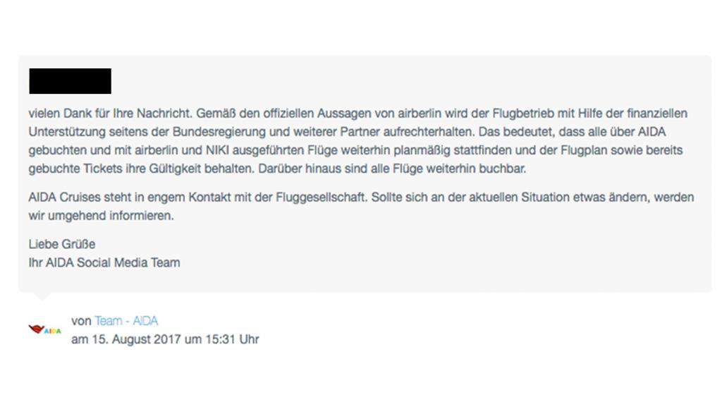 Kei Grund zur Panik, wie AIDA hier im Beitrag, haben alle Reedereien die Vorgänge rund um Air Berlin im Blick. Foto: Screenshot