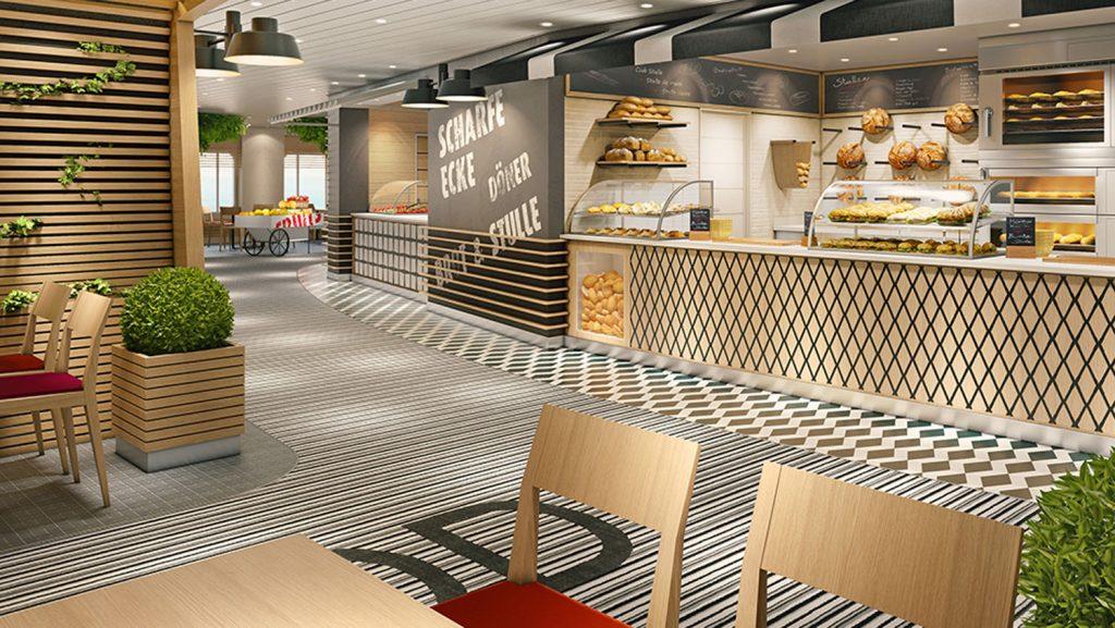 Der neue Street Food Court mit Curry Wurst, Döner und vieles mehr. Foto: AIDA Cruises