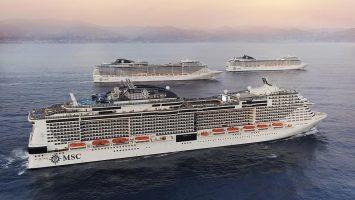Flottentreffen von MSC vor Portofino. Foto: MSC Kreuzfahrten