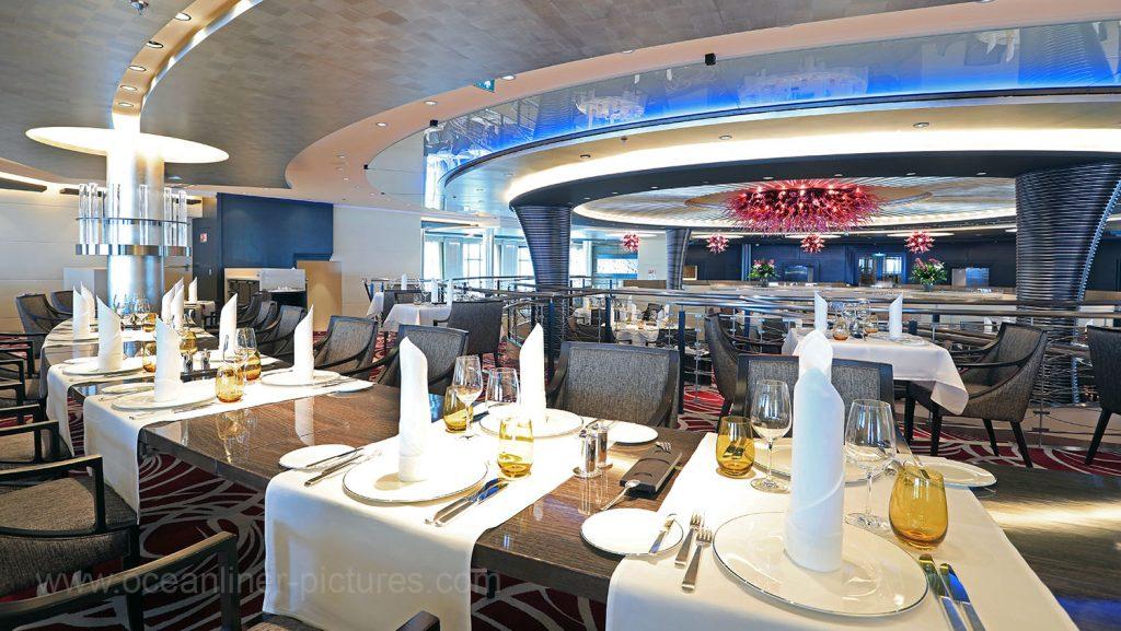 MS Europa 2 Restaurant Weltmeere. Foto: Oliver Asmussen/oceanliner-pictures.com