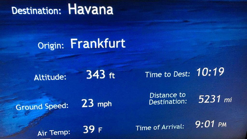 Fluginformationen Frankfurt nach Havanna. / Foto: Oliver Asmussen/oceanliner-pictures.com