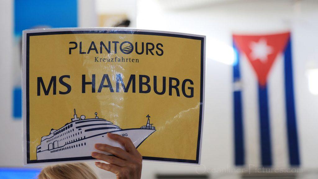 MS Hamburg Infotafel im Hafengebäude Havanna. / Foto: Oliver Asmussen/oceanliner-pictures.com