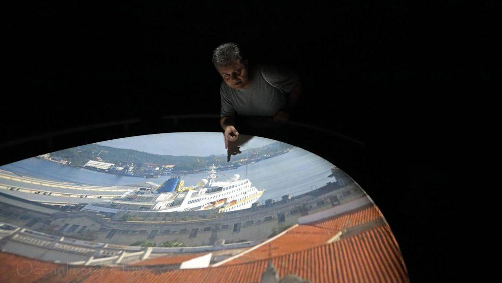 MS Hamburg aus der Sicht der Camera Obscura in Havana. / Foto: Oliver Asmussen/oceanliner-pictures.com