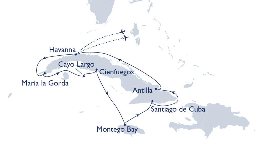 Routenkarte MS Hamburg Plantours Kuba intensiv. / Foto: Plantours Kreuzfahrten
