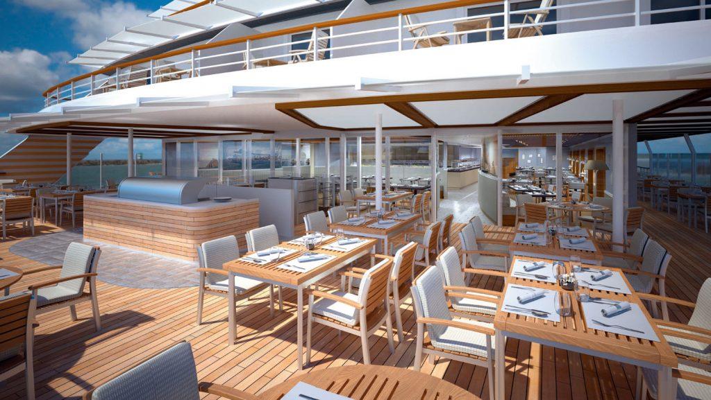 Blick auf dem Außenbereich des Bistros an Bord. Foto: Hapag Lloyd Cruises