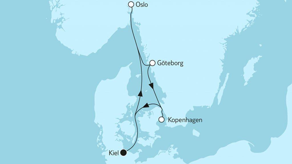 Die Route der Kurzkreuzfahrt in Richtung Oslo. Foto: TUI Cruises