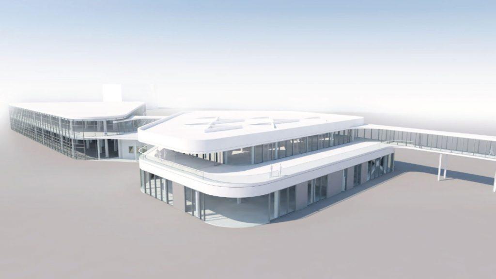 Blick auf das neue Terminal am Ostseekai. Rendering: eins zu eins Architekten