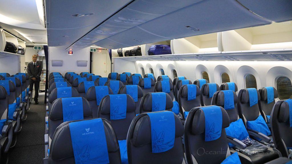 Boeing 787-800 Air Austral Kabine. / Foto: Oliver Asmussen/oceanliner-pictures.com