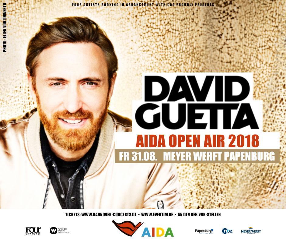 Stargast ist der DJ David Guetta. Grafik: AIDA Cruises