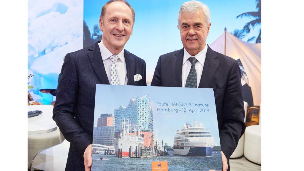 Karl J. Pojer, Vorsitzender der Geschäftsführung von Hapag-Lloyd Cruises, und Senator Frank Horch von der Hamburger Behörde für Wirtschaft, Verkehr und Innovation auf der ITB. Foto: Hapag Lloyd Cruises