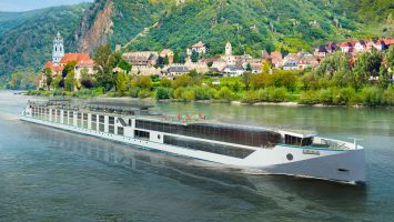 Visualisierung des Rhine-Class-Flusskreuzfahrtschiffes. Foto: MV Werften