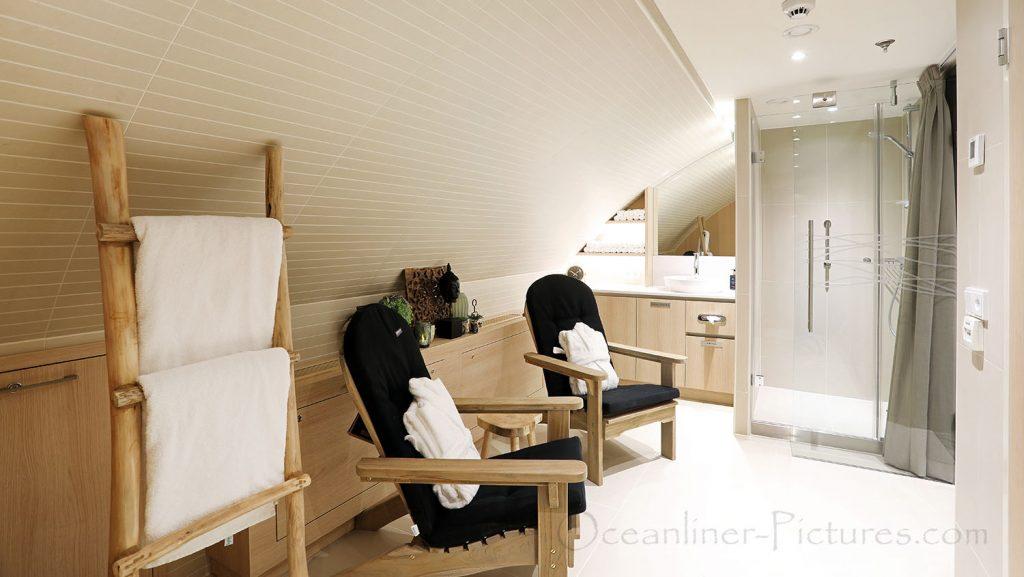 Sauna und Ruhebereich MS Alena. / Foto: Oliver Asmussen/oceanliner-pictures.com