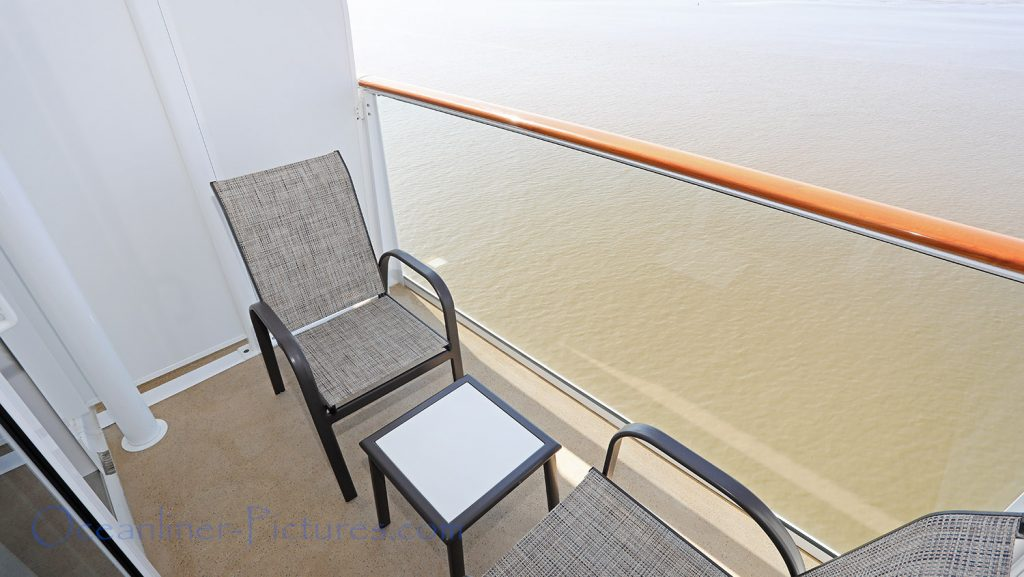 Balkon einer Balkonkabine Kat. BD und BA als Beispiel Norwegian Bliss. / Foto: Oliver Asmussen/oceanliner-pictures.com