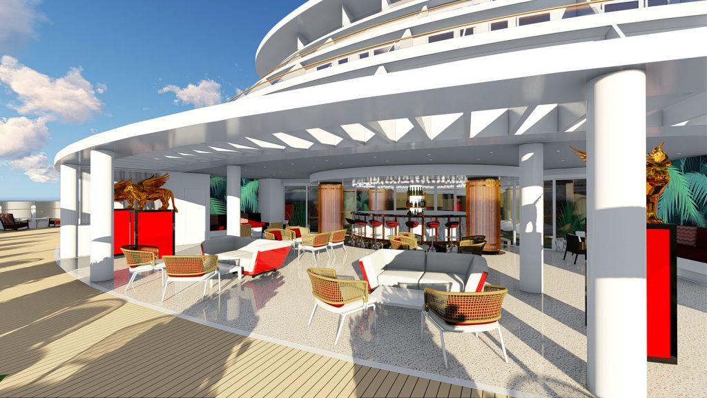 Blick auf Lounge und Deck. Foto: Costa Kreuzfahrten