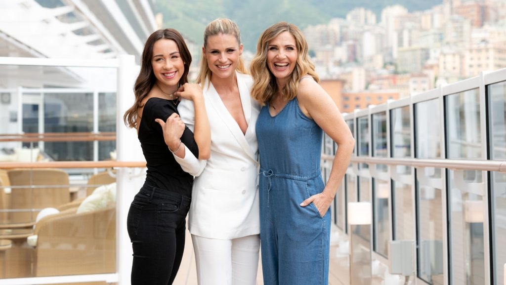 Michelle Hunziker, Lorella Cuccarini und Aurora Ramazzotti an Bord der MSC Seaview. Foto: MSC Cruises