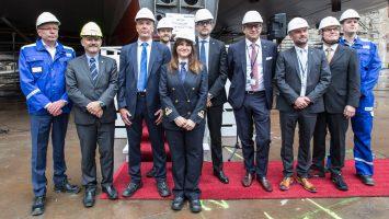 Vertreter der Werft Meyer Turku und der Reederei Costa Crociere feierten die Kiellegung der Costa Smeralda. Foto: Costa Kreuzfahrten