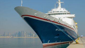 Die Boudicca in der vergangenen Woche im Hafen von Doha/Katar. Foto: QTA