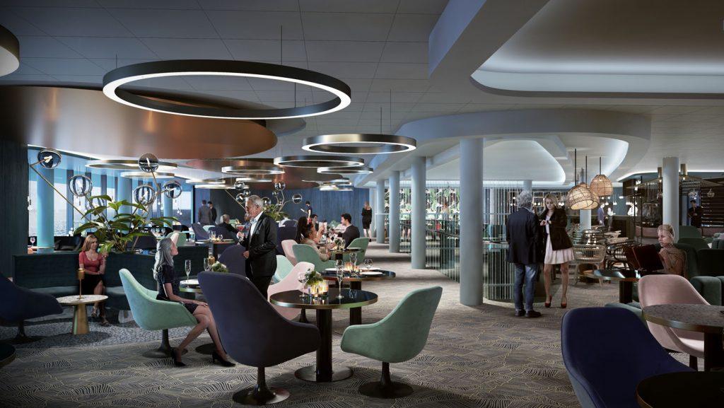 Blick in die neue Schau Bar an Bord der Mein Schiff 2. Foto: TUI Cruises