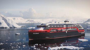 Das erste Hybrid-Expeditionsschiff der Welt. Die Roald Amundsen. Foto: Hurtigruten
