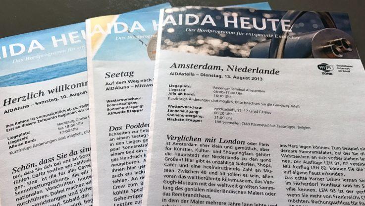 Beliebt, aber nun auf dem Prüfstand: AIDA testet Digitalausgabe ohne Print. Foto: lenthe/touristik-foto.de