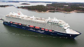 Am 3. April machte die Mein Schiff 6 ihre erste Erprobungsfahrt. Foto: TUI Cruises