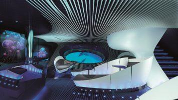 Dem Meer ganz nah in der Underwater Lounge Blue Eye. Foto: Ponant - Jaques Rougerie Architecte