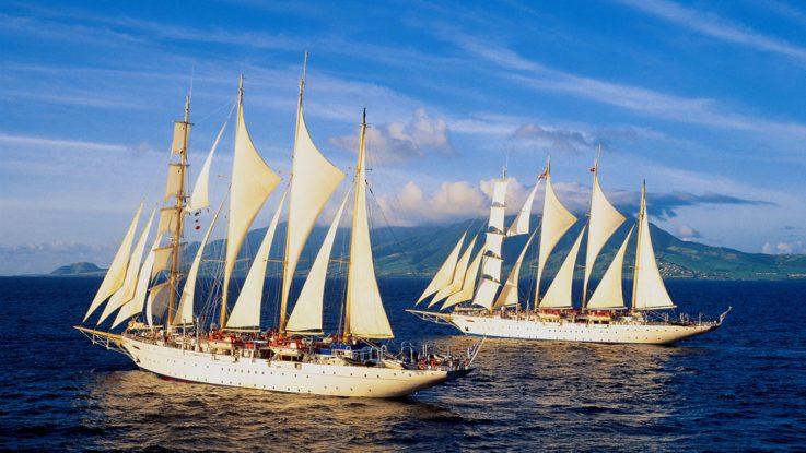 Zwei von drei Segelschiffen der Star Clippers Flotte. Foto: Star Clippers