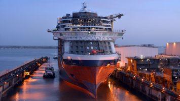 Die Celebrity Edge beim Float-Out im französischen Nazaire. Foto: Celebrity Cruises/Bernard Biger