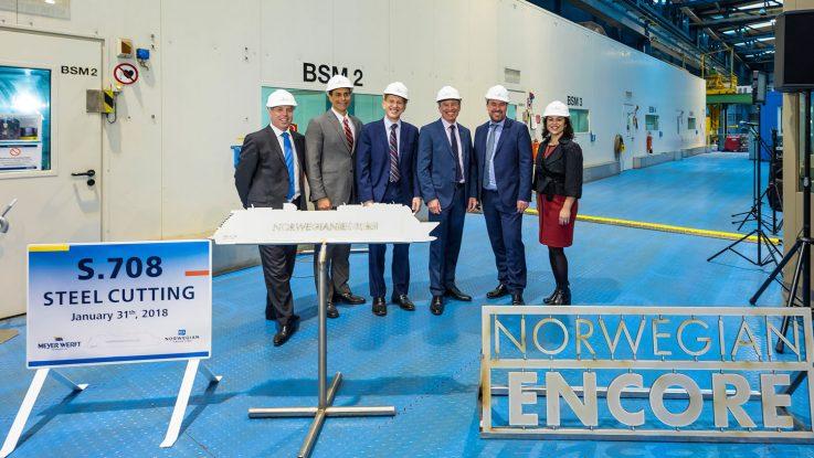 Am Mittwoch fand der Stahlschnitt der neuen Norwegian Encore in Papenburg statt. Foto: Norwegian Cruise Line