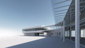 Am ostseekai entsteht ein weiteres Kreuzfahrtterminal. Rendering: eins zu eins Architekten