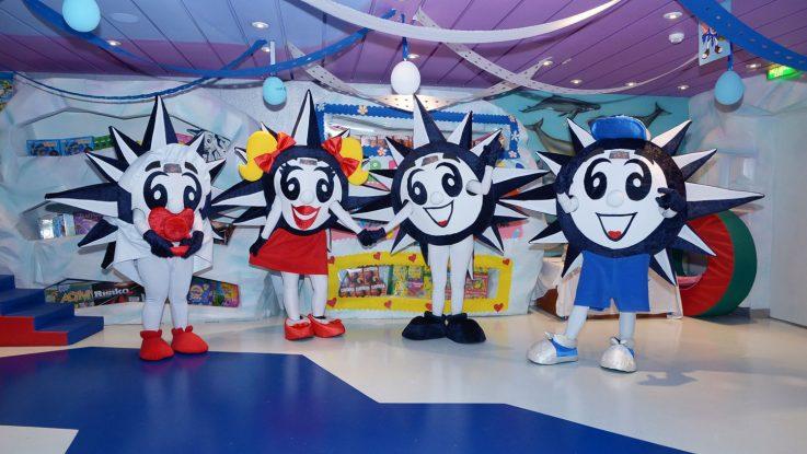 Das Maskottchen Dore Summer feiert seine Premiere. Foto. MSC Cruises