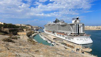 MSC Seaview im Hafen von Valletta. / Foto: Oliver Asmussen/oceanliner-pictures.com