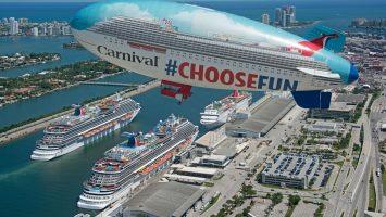 Neben der Carnival Vista links im Bild liegt auch die Carnival Horizon in Miami am Cruise Terminal. Foto: Andy Newman/Carnival Cruise Line