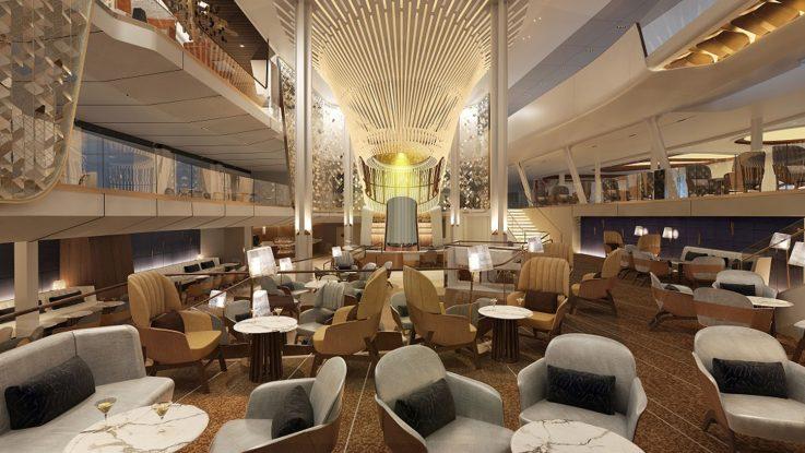 Grand Plaza, das Herzstück der neuen Celebrity Edge von Celebrity Cruises. Foto: Celebrity Cruises