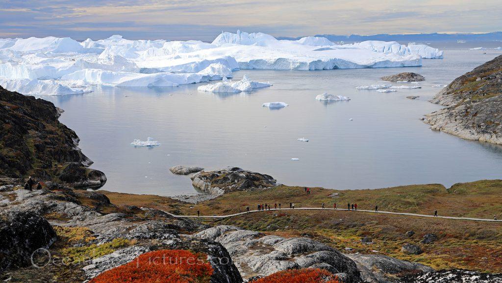 Blick auf den Eisfjord vom Berggipfel / Foto: Oliver Asmussen/oceanliner-pictures.com