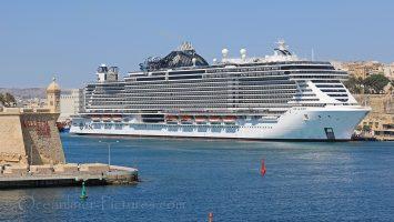 MSC Seaview von MSC Cruises im Hafen von Valletta, Malta / Foto: Oliver Asmussen/oceanliner-pictures.com