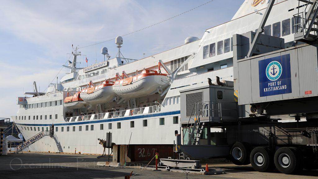 Ocean Majesty im Hafen von Kristiansand / Foto: Oliver Asmussen/oceanliner-pictures.com