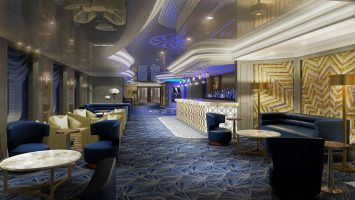 In schickem Art déco-Stil präsentiert sich The Princess Live! and Café auf der neuen Enchanted Princess. Foto: Princess Cruises