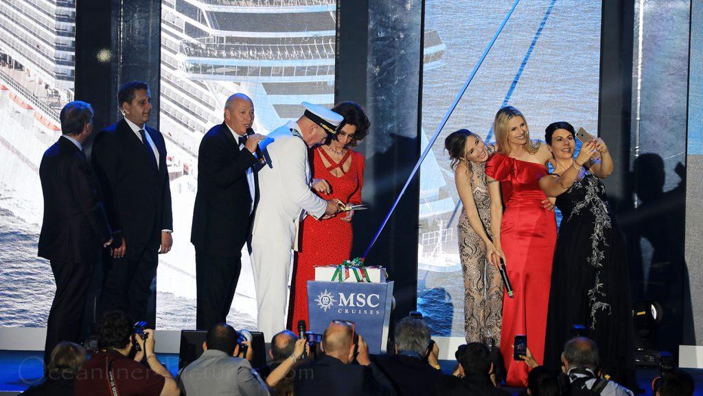 Taufe der MSC Seaview durch Sophia Loren in Genua am 09.06.2018 / Foto: Oliver Asmussen/oceanliner-pictures.com
