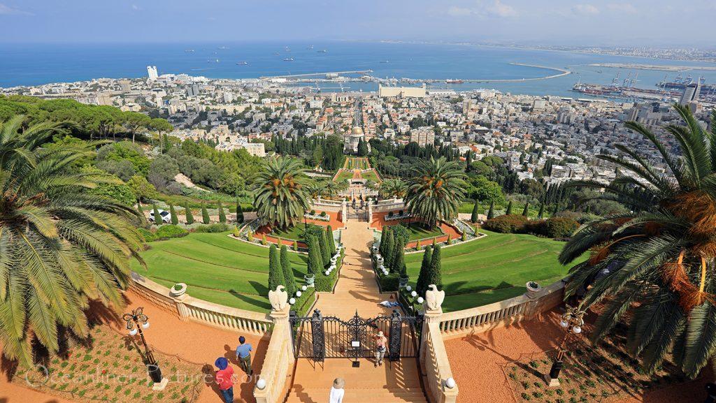 Bahai Gardens Haifa upper level Panoramablick / Foto: Oliver Asmussen/oceanliner-pictures.com