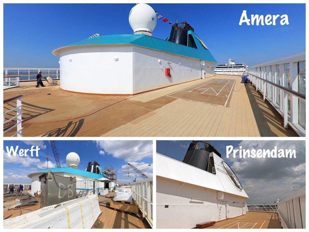 Bild 02 Blick auf Schornstein und Shuffleboard MS Amera / Foto: Oliver Asmussen/oceanliner-pictures.com