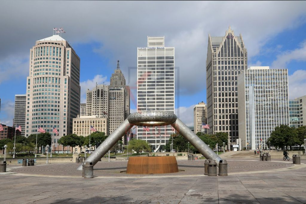 Horace E. Dodge Fountain und Skyline Detroit / Foto: Oliver Asmussen/oceanliner-pictures.com