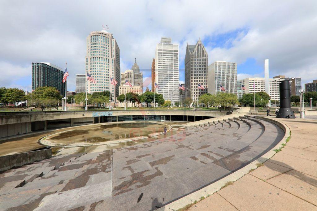 Main Amphitheater am Hart Plaza und Skyline Detroit / Foto: Oliver Asmussen/oceanliner-pictures.com