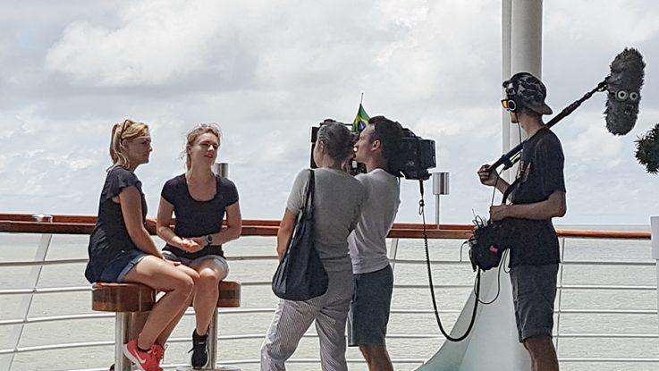 TV-Team an Bord der MS Amera